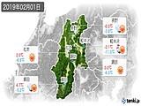 2019年02月01日の長野県の実況天気