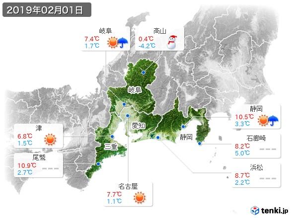 東海地方(2019年02月01日の天気