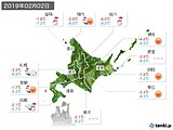 2019年02月02日の北海道地方の実況天気