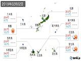 2019年02月02日の沖縄県の実況天気