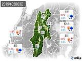 2019年02月03日の長野県の実況天気