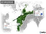 2019年02月03日の愛媛県の実況天気