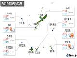 2019年02月03日の沖縄県の実況天気