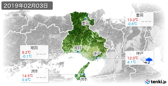 兵庫県(2019年02月03日の天気