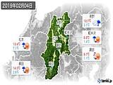 2019年02月04日の長野県の実況天気