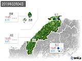 2019年02月04日の島根県の実況天気