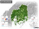 2019年02月04日の広島県の実況天気