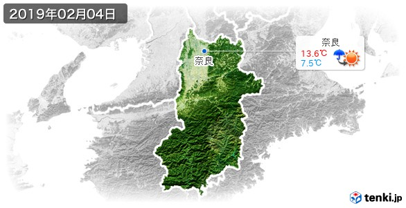 奈良県(2019年02月04日の天気