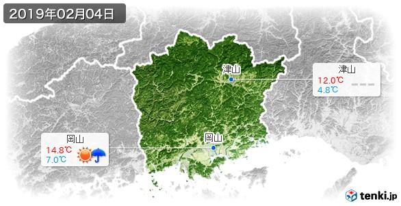 岡山県(2019年02月04日の天気