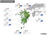 2019年02月05日の九州地方の実況天気
