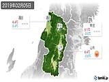 2019年02月05日の山形県の実況天気