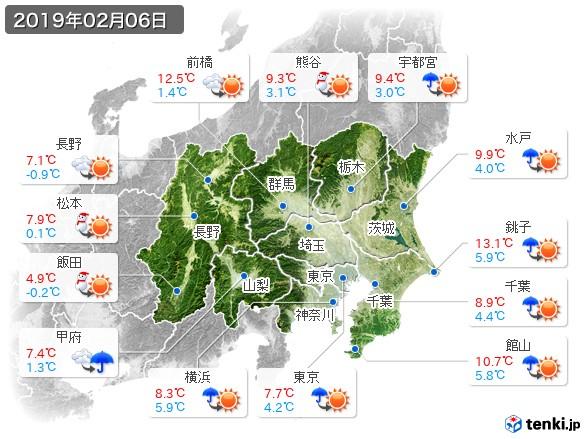 関東・甲信地方(2019年02月06日の天気