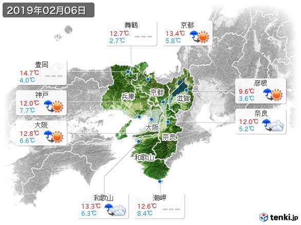 近畿地方(2019年02月06日の天気