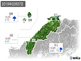 2019年02月07日の島根県の実況天気