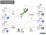2019年02月07日の沖縄県の実況天気
