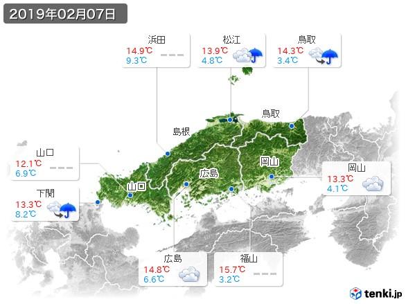 中国地方(2019年02月07日の天気