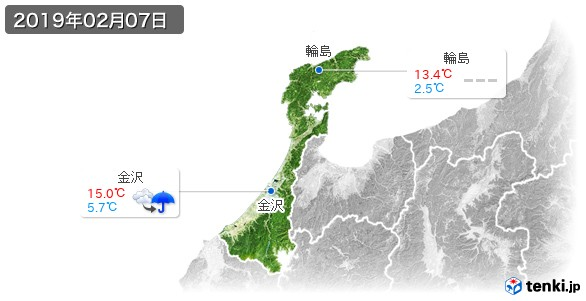 石川県(2019年02月07日の天気