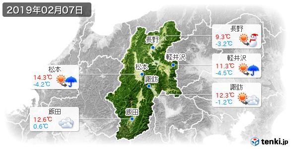 長野県(2019年02月07日の天気