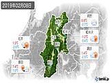 2019年02月08日の長野県の実況天気