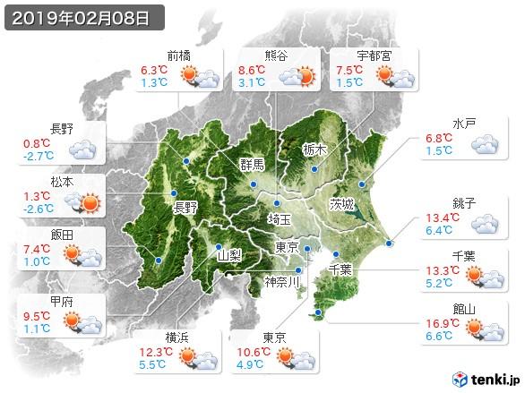 関東・甲信地方(2019年02月08日の天気
