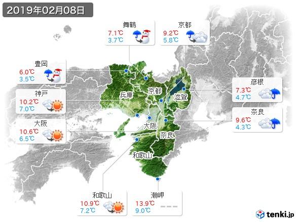 近畿地方(2019年02月08日の天気