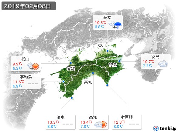 四国地方(2019年02月08日の天気