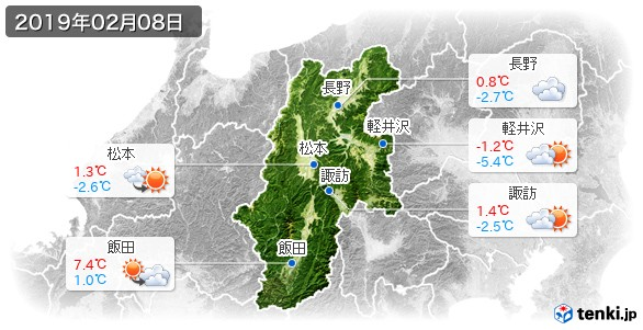 長野県(2019年02月08日の天気
