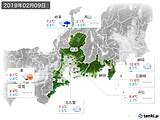 2019年02月09日の東海地方の実況天気