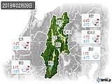 2019年02月09日の長野県の実況天気