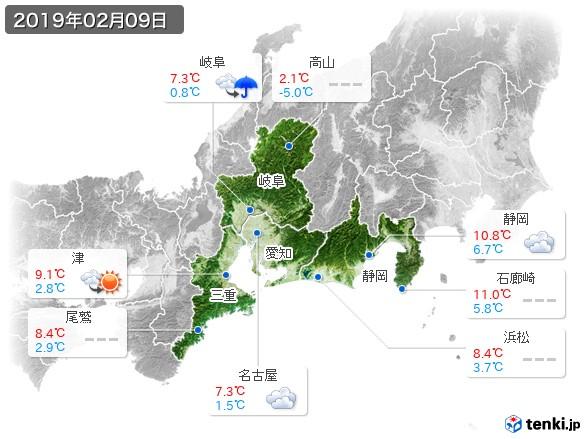 東海地方(2019年02月09日の天気