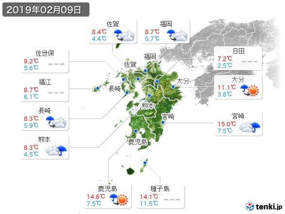 九州地方(2019年02月09日の天気