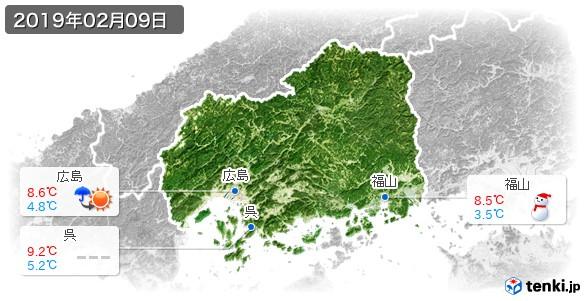 広島県(2019年02月09日の天気