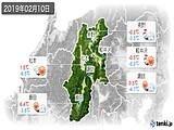 2019年02月10日の長野県の実況天気