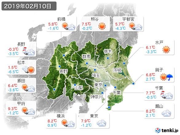 関東・甲信地方(2019年02月10日の天気
