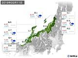 2019年02月11日の北陸地方の実況天気