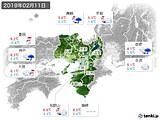 2019年02月11日の近畿地方の実況天気