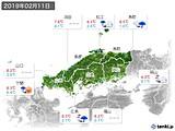 2019年02月11日の中国地方の実況天気