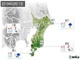 2019年02月11日の千葉県の実況天気