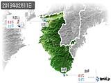 2019年02月11日の和歌山県の実況天気