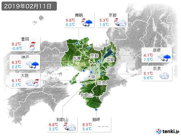 近畿地方(2019年02月11日の天気