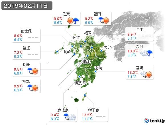 九州地方(2019年02月11日の天気