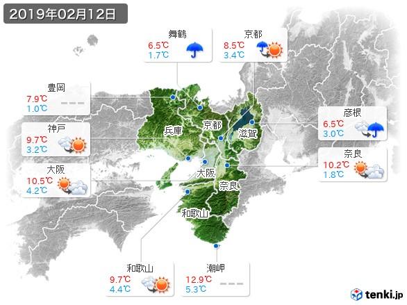 近畿地方(2019年02月12日の天気
