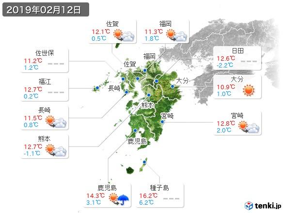 九州地方(2019年02月12日の天気