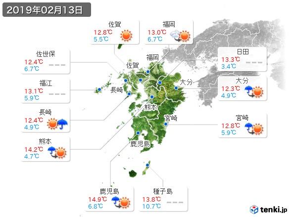 九州地方(2019年02月13日の天気