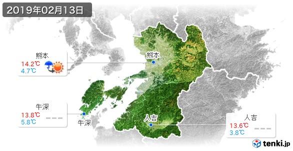 熊本県(2019年02月13日の天気