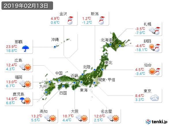 (2019年02月13日の天気