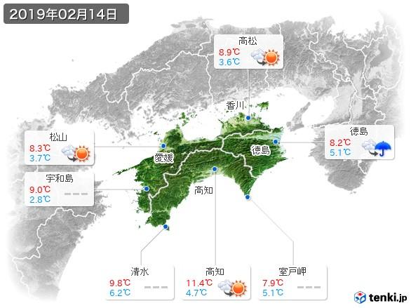 四国地方(2019年02月14日の天気