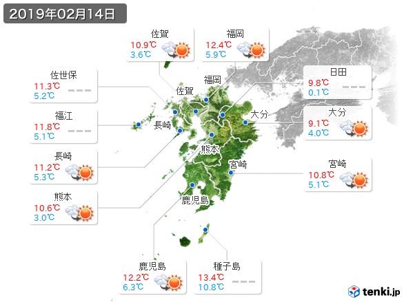 九州地方(2019年02月14日の天気