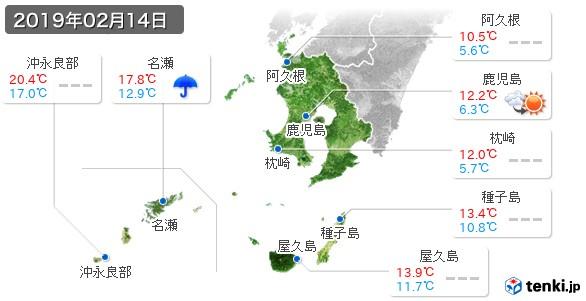 鹿児島県(2019年02月14日の天気