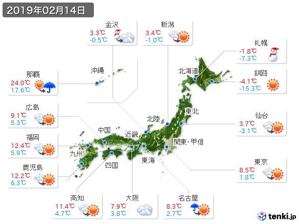 (2019年02月14日の天気